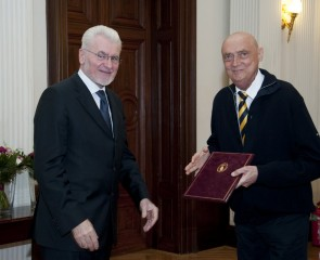President of the Hugarian Academy of Sciences awards diploma to Professor János Berényi